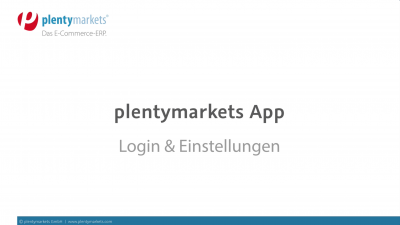 plentymarkets App // Login & Kennzahlen
