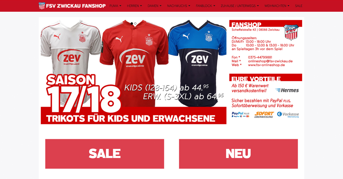 FSV Zwickau Fanshop Screenshot